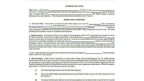 Rental Lease Agreement Form Samples - 9+ Free Documents in Word, PDF - rental contract agreement
