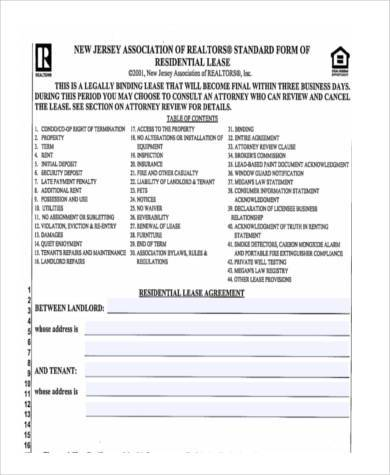 Sample Residential Lease Agreement Forms - 8+ Free Documents in - lease renewal form