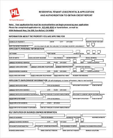 Sample Residential Lease Application Form - 9+ Free Documents in