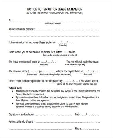 Sample Lease Extension Agreement Form - 9+ Free Documents in Word, PDF - lease extension agreement