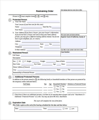 Restraining Order Form Samples - 7+ Free Documents in PDF