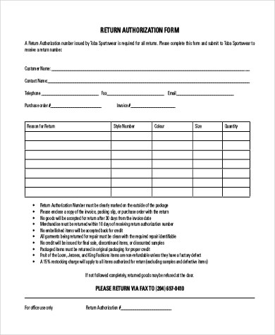 Sample Return Authorization Forms - 10+ Free Documents in Word, PDF