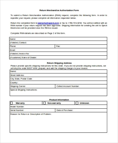 Sample Return Authorization Forms - 10+ Free Documents in Word, PDF - return to vendor form template