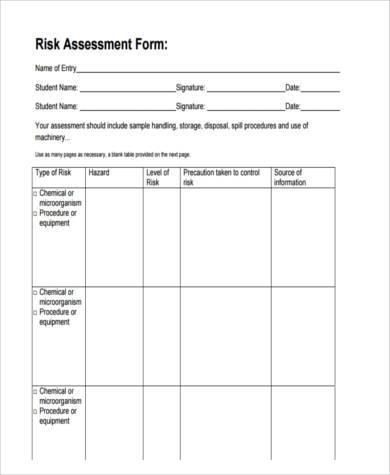 risk assessment form sample pro-thai - risk assessment form sample