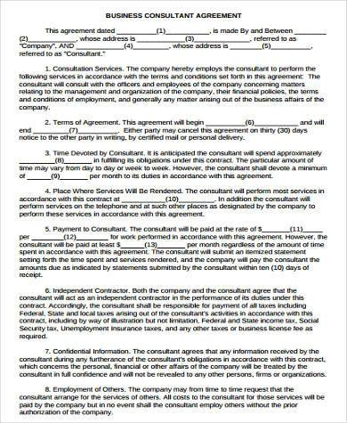 Consulting Agreements Model Consulting Agreement Template - business agreements