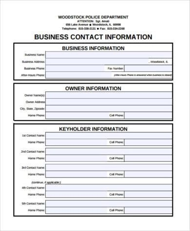 9+ Contact Form Samples - Free Documents in PDF - contact information form