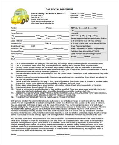 9+ Rental Sample Agreement Forms - Free Documents in PDF - car rental agreement sample