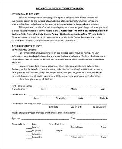 8+ Authorization Form Samples - Free sample, Example Format Download - background check release form