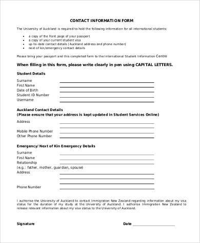 9+ Sample Information Forms - Free Sample, Example, Format Download - contact information form