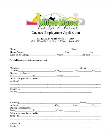Sample Employment Application Form - 9+ Free Documents in Word, PDF - Employment Application Forms