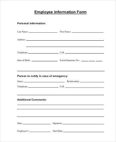 9+ Sample Information Forms - Free Sample, Example, Format Download