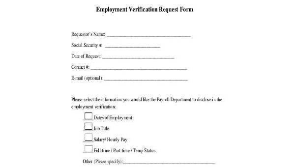 Sample Employment Verification Request Forms - 9+ Free Documents in