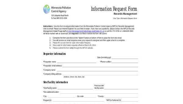 Sample Information Request Forms - 8+ Free Documents in Word, PDF