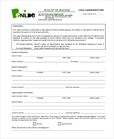 Legal Guardianship Form Benilde  Employee Performance Evaluation