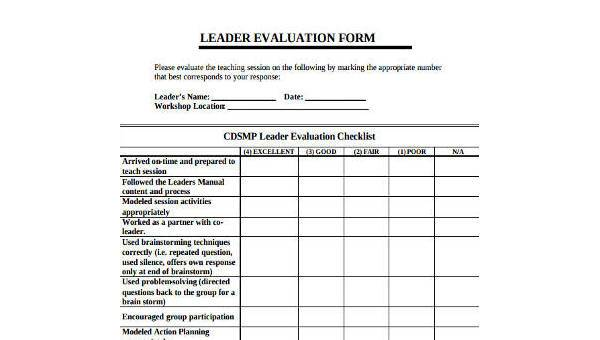 Sample Leadership Evaluation Forms - 8+ Free Documents in Word, PDF