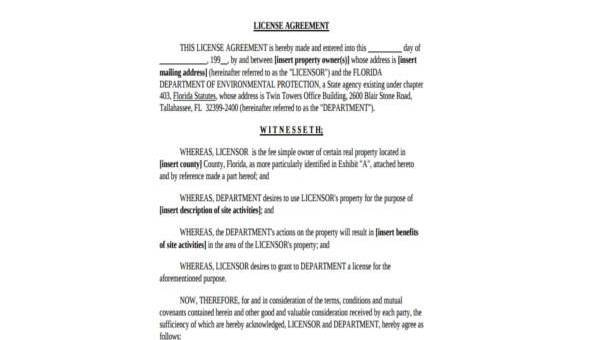 Sample License Agreement Forms - 7+ Free Documents in Word, PDF