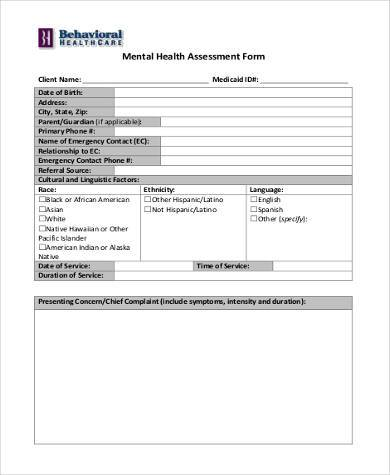 Mental Health Assessment Template - Want To Live Your Best Life