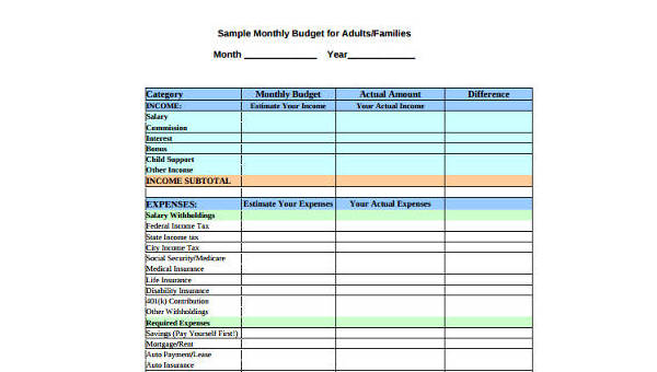 Sample Monthly Budget Forms - 9+ Free Documents in Word, PDF