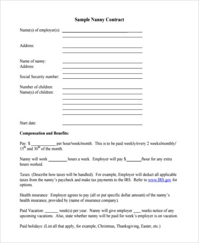 Sample Nanny Contract - 6+ Free Documents in PDF - housekeeper contract templates