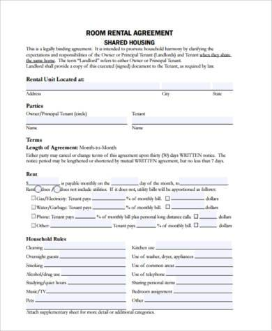 9+ Rental Sample Agreement Forms - Free Documents in PDF - Room Rental Agreement Form