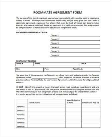 9+ Rental Sample Agreement Forms - Free Documents in PDF - roommate rental agreement