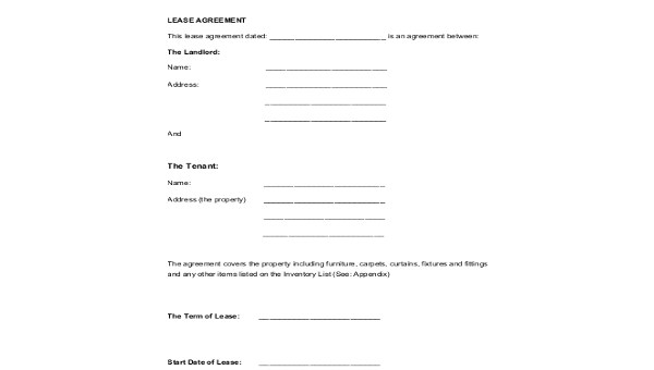 Sample Standard Lease Forms - 8+ Free Documents in PDF