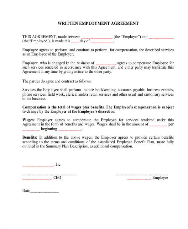 9+ Employment Agreement Samples - Free Samples, Examples, Format - job agreement contract