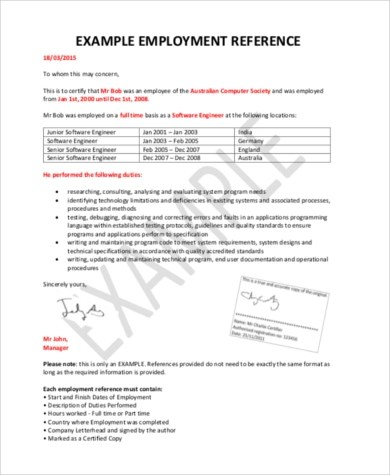 Manager Reference Letter Employment Recommendation Reference - employment reference letter sample