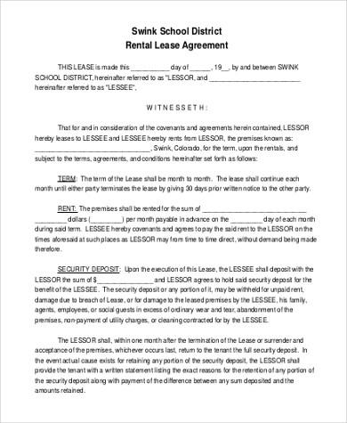 Free Rental Lease Agreement Form - 10+ Free Documents in Word, PDF - rental lease agreement