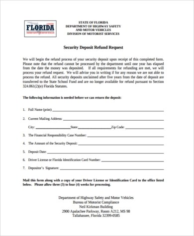 Security Deposit Refund Form Samples - 8+ Free Documents in Word, PDF - refund request form