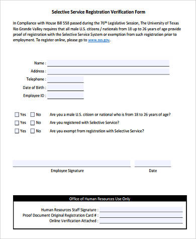 Sample Selective Service Registration Forms - 8+ Free Documents in