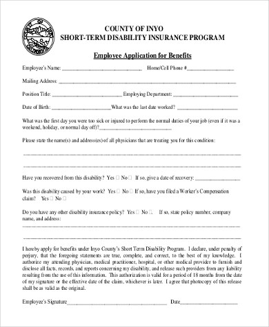 Sample Short Term Disability Form - 7+ Free Documents in PDF - disability form