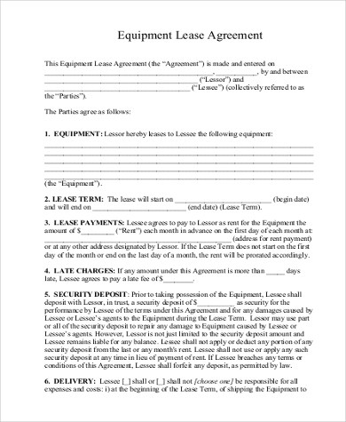 Sample Equipment Lease Agreement Form - 9+ Free Documents in Word, PDF - sample equipment rental agreement