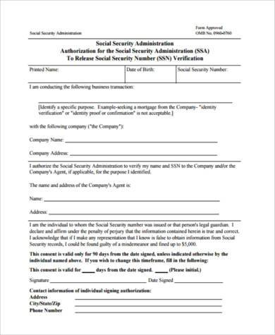 Social Security Request Form Sample Employment Verification   Social  Security Administration Form