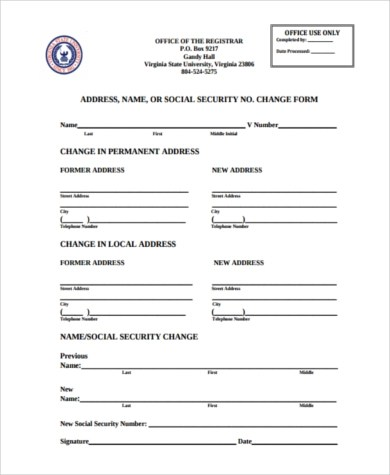 ... Sample Social Security Name Change Form   8+ Free Documents In PDF ...