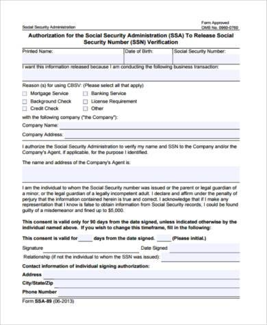 Free Social Security Verification Forms - 8+ Free Documents in Word, PDF