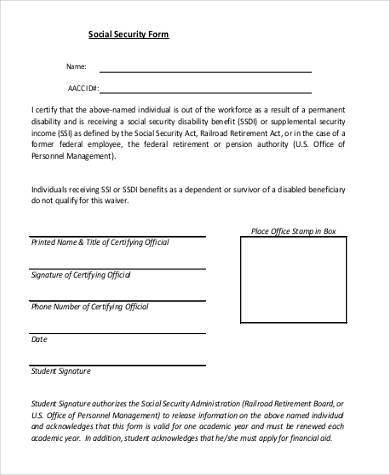 Social Security Application Form Samples - 7+ Free documents in PDF