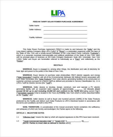 Sample Power Purchase Agreement Forms - 8+ Free Documents in Word, PDF - power purchase agreement