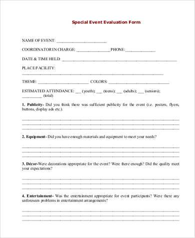 Event Evaluation Form Samples - 9+ Free Documents in Word, PDF