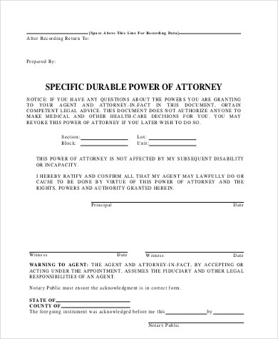 Specific Power of Attorney - 7+ Free Documents in PDF - Sample Of Power Of Attorney