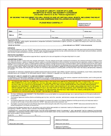 Sample Liability Waiver Form - 8+ Free Documents in Word, PDF