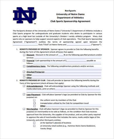 Sample Sponsorship Agreement Forms - 8+ Free Documents in PDF - sponsorship agreement