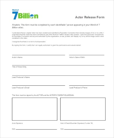 Actor Release Form Video Release Forms Sample Talent Release Form - Actor Release Forms