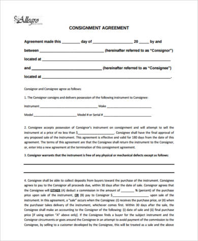 Consignment Agreement Form Samples - 9+ Free Documents in PDF - Consignment Agreement Template