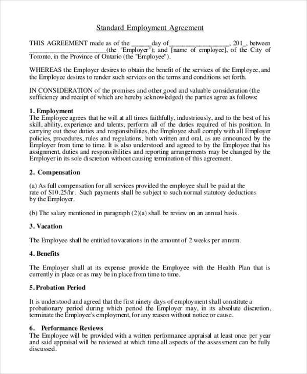 9+ Employment Agreement Samples - Free Samples, Examples, Format - standard employment agreement