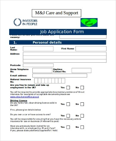 Application Form Karnataka Generic Employment Application Form Samples 8 Free