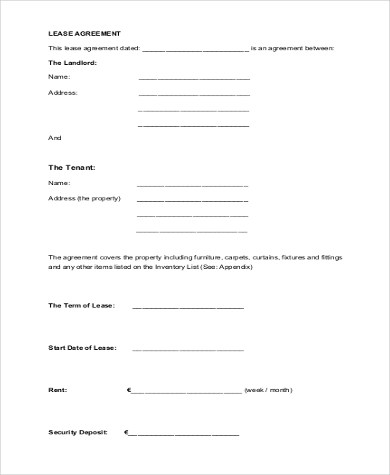 Sample Standard Lease Forms - 8+ Free Documents in PDF - standard lease agreement template