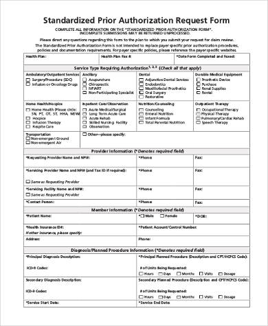 Prior Authorization Form Samples - 7+ Free Documents PDF - prior authorization form