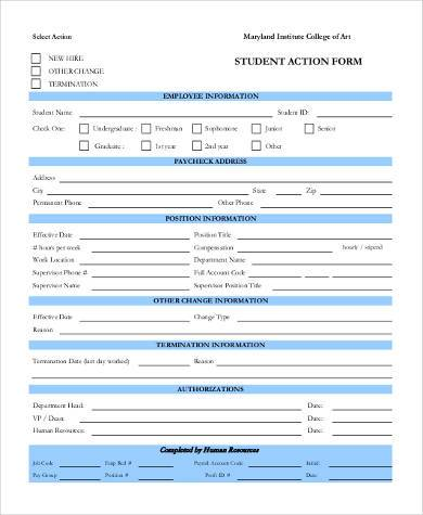 Sample Student Action Forms - 8+ Free Documents in Word, PDF - action form in pdf