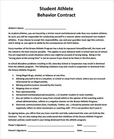 Sample Student Behavior Contract Forms - 9+ Free Documents in Word, PDF - Student Contract Templates